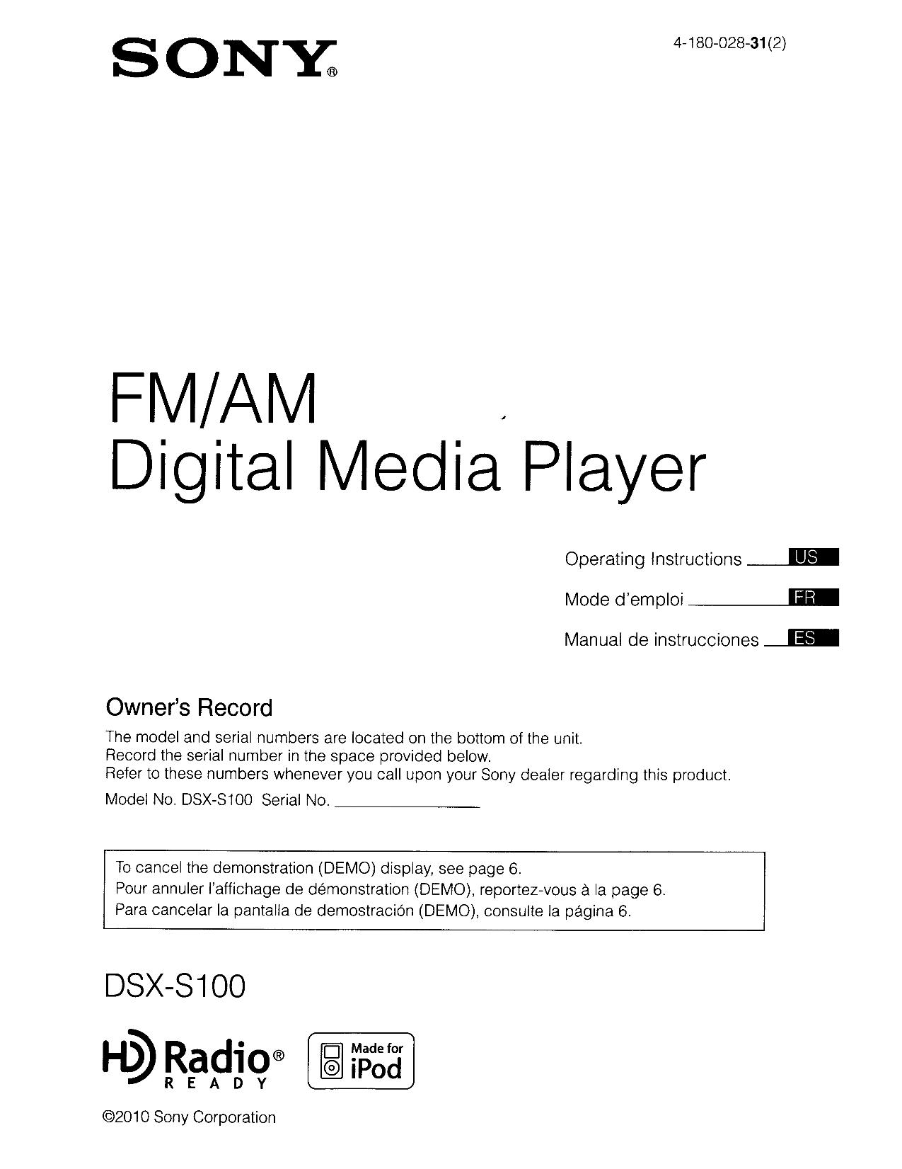 download free pdf for sony dsx s100 car receiver manual rh umlib com