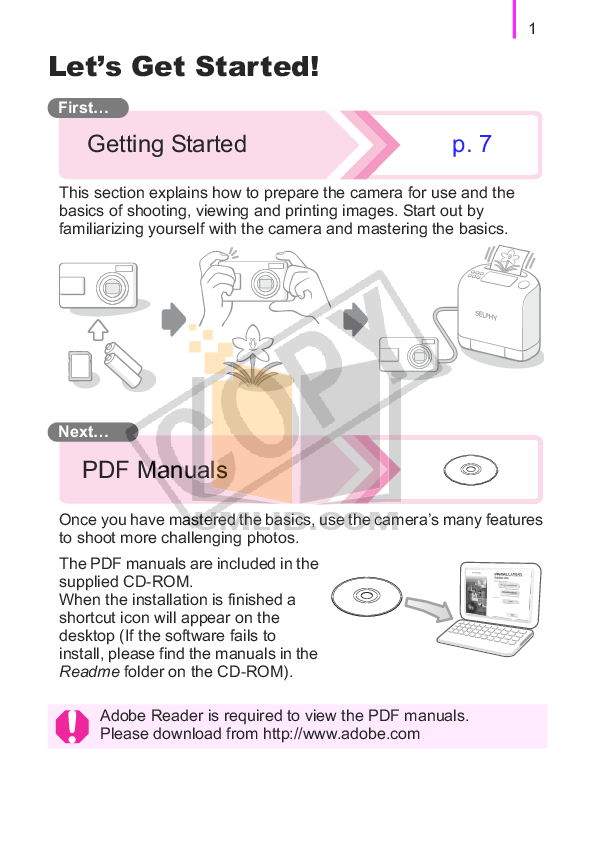 Canon Digital Camera Powershot A470 pdf page preview