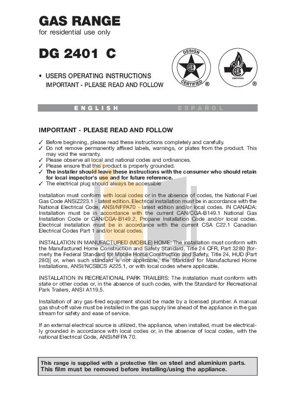 pdf for Avanti Range DG2401C manual
