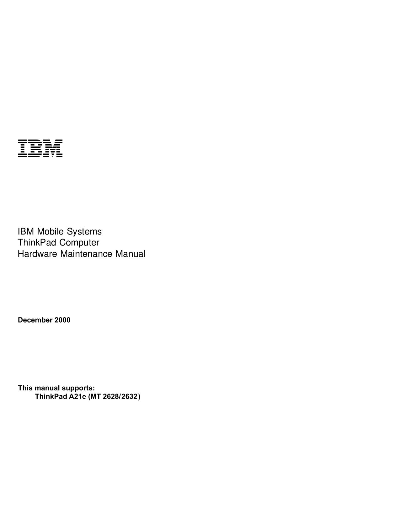 pdf for IBM Laptop ThinkPad A21e manual