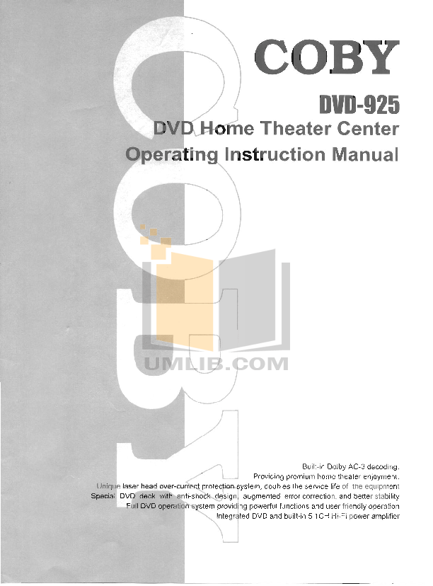 pdf manual for coby home theater dvd 925 rh umlib com Coby Portable DVD Coby Portable DVD
