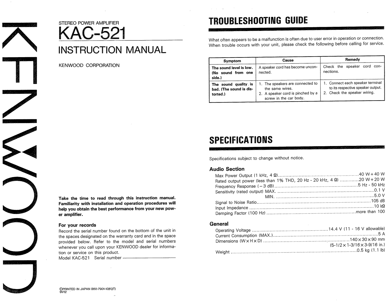 Download Free Pdf For Kenwood Kac