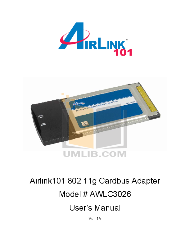 pdf for Airlink Other AWLC3026 Adapters manual