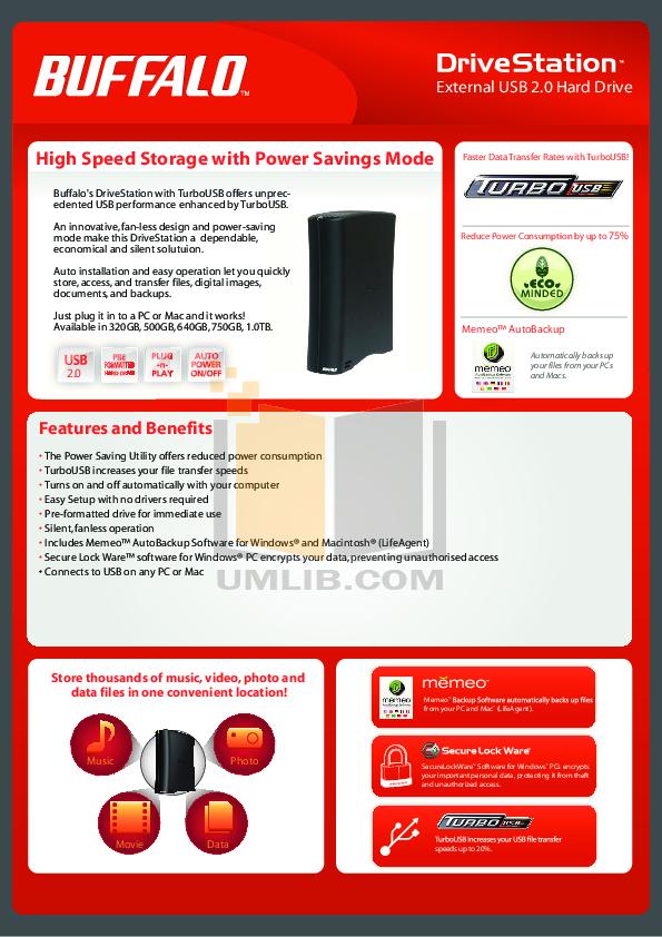 pdf for Buffalo Storage HD-CE500U2 manual