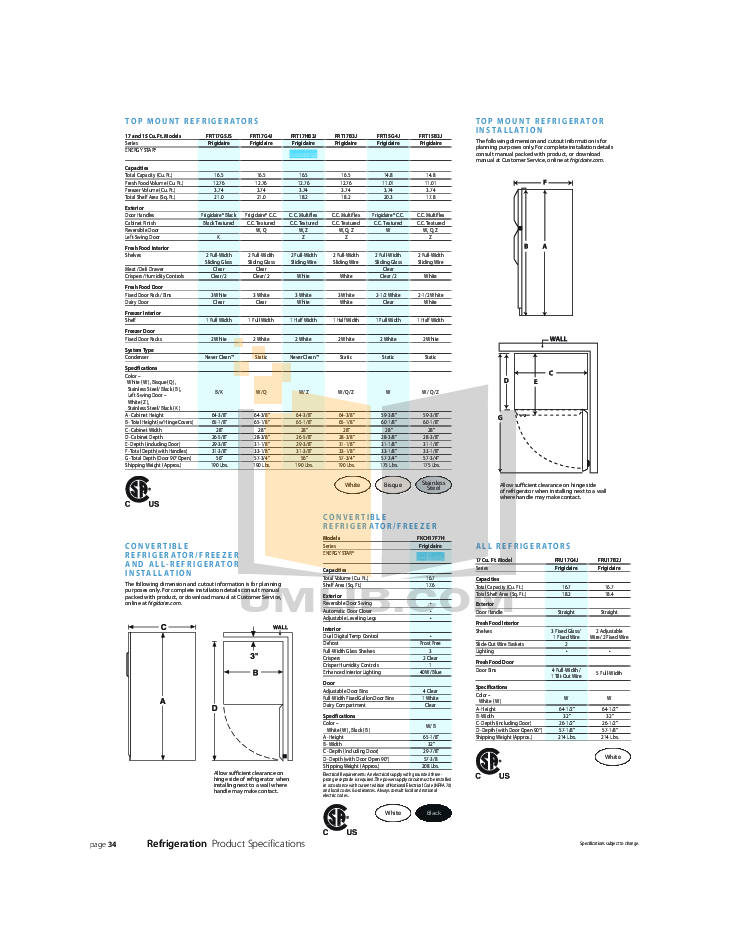 pdf for Frigidaire Refrigerator FRT17G4J manual