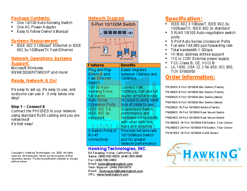 Hawking Other PN108ES Network Switch pdf page preview