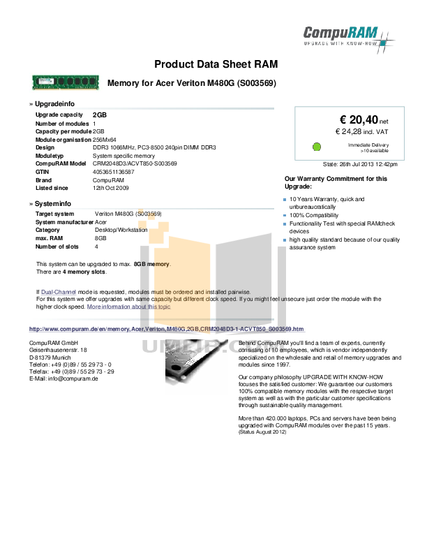pdf for Acer Desktop Veriton M480G manual