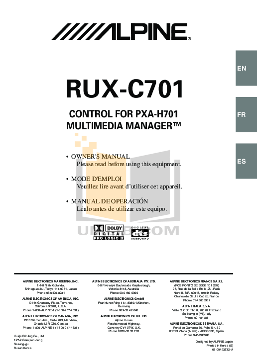 RUX C701.PDF 0 wat download free pdf for alpine pxa h701 car video manual alpine cda-9833 wiring diagram at soozxer.org
