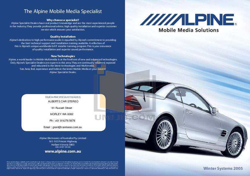 pdf for Alpine Car Video PXA-H701 manual
