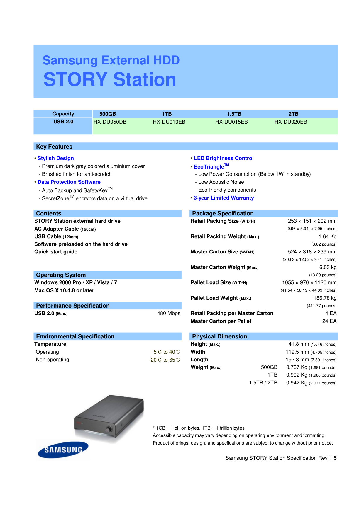 pdf for Samsung Storage HX-DU015EB manual