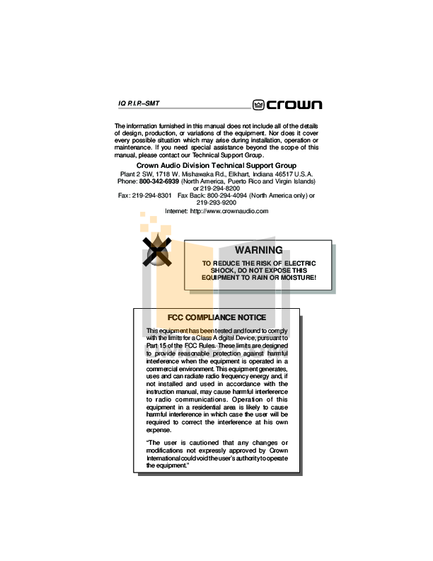 Crown Other IQ-PIP-MEM Input Processors pdf page preview