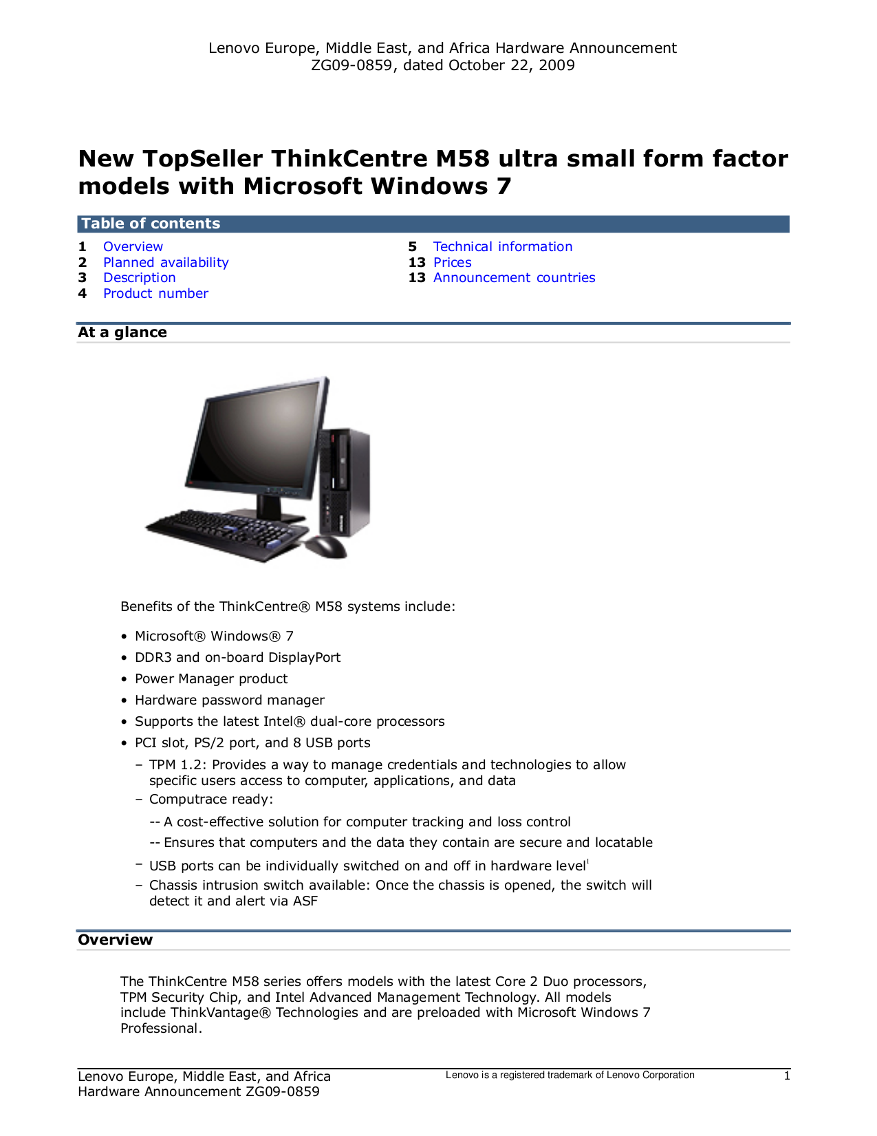 pdf for Lenovo Desktop ThinkCentre M58 6139 manual