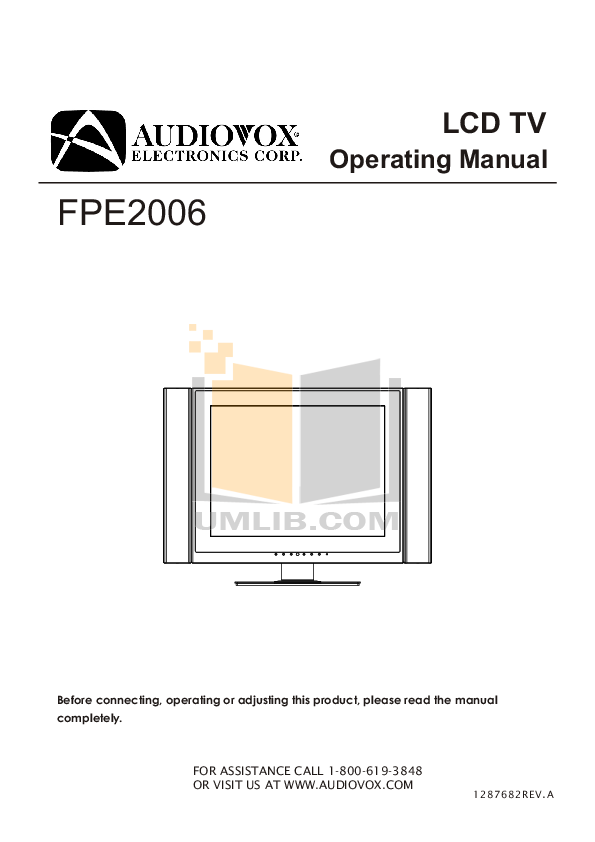 pdf for Audiovox TV FPE2006 manual