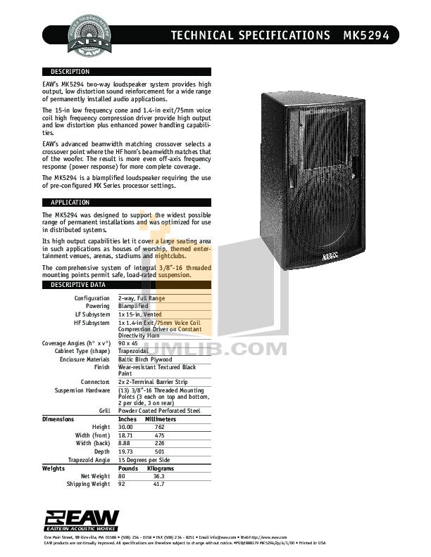 pdf for Eaw Speaker System MK5294 manual