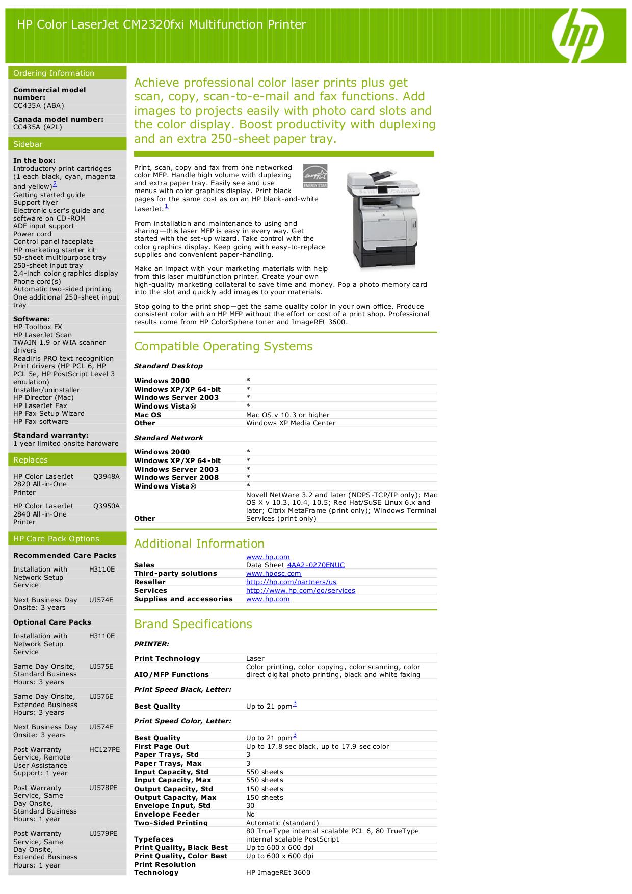 pdf for HP Multifunction Printer Laserjet,Color Laserjet CM2320nf manual