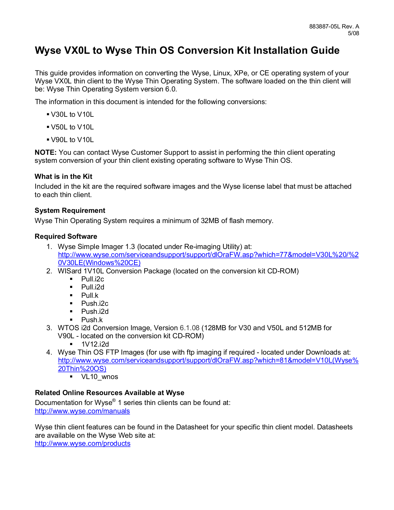 Download free pdf for Wyse V90 Desktop manual