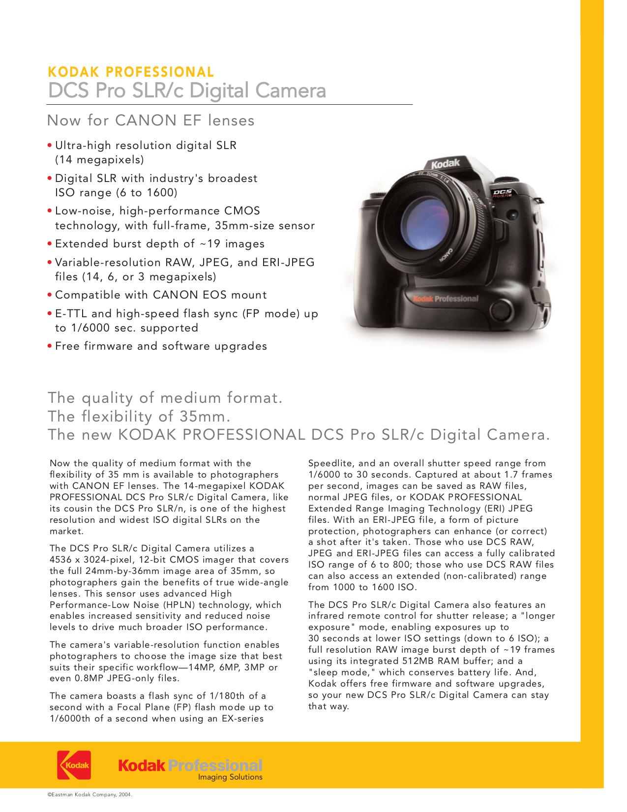kodak digital camera industry
