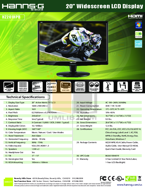 pdf for HannsG Monitor HZ201HPB manual