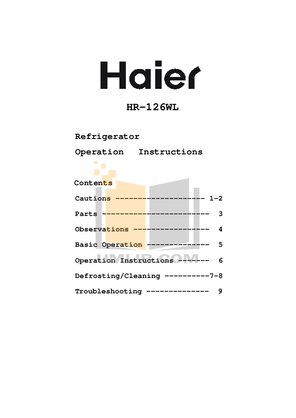 pdf for Haier Refrigerator HR-126WL manual