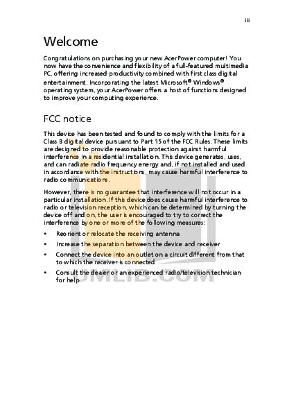 Acer Desktop AcerPower SE pdf page preview