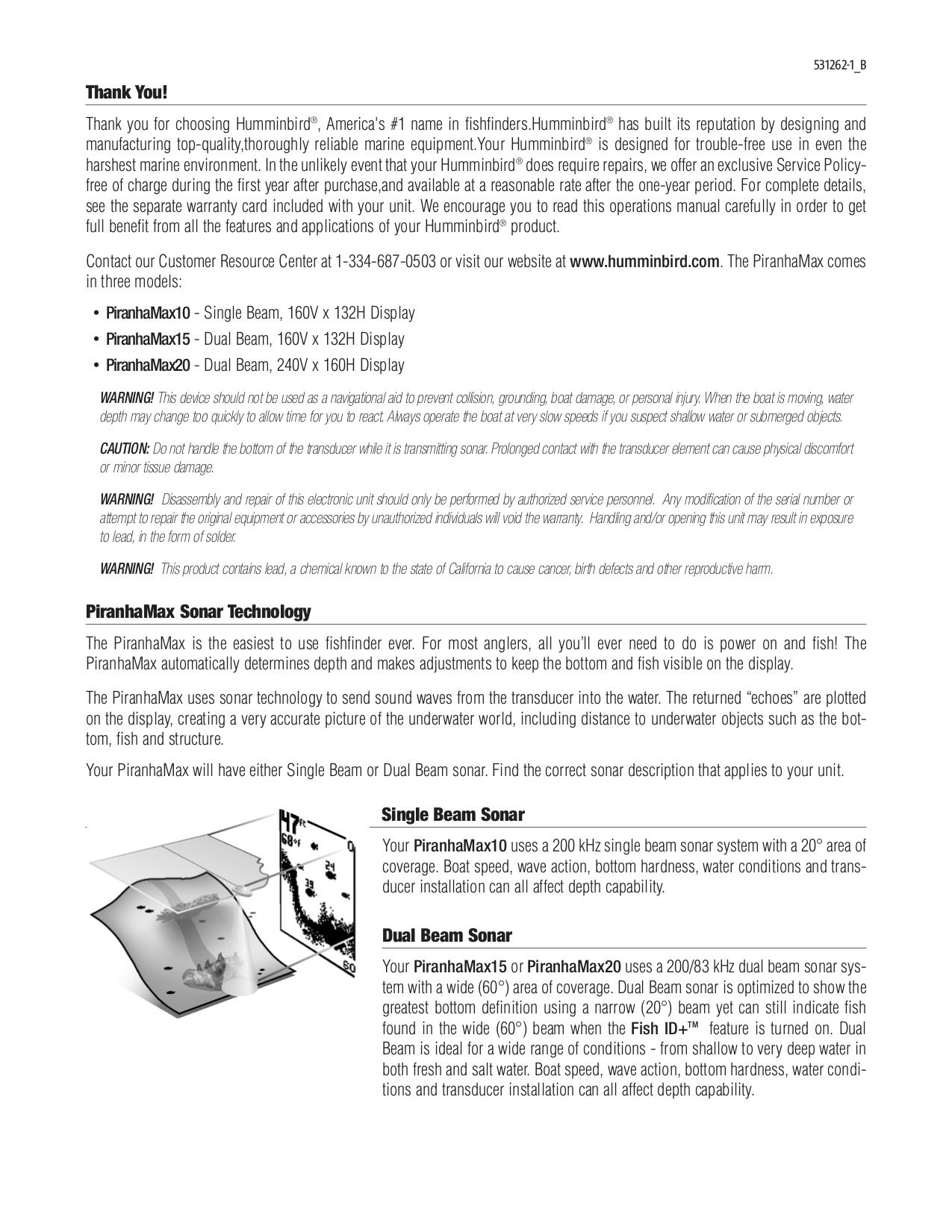 pdf for Humminbird GPS Piranha Max 10 manual