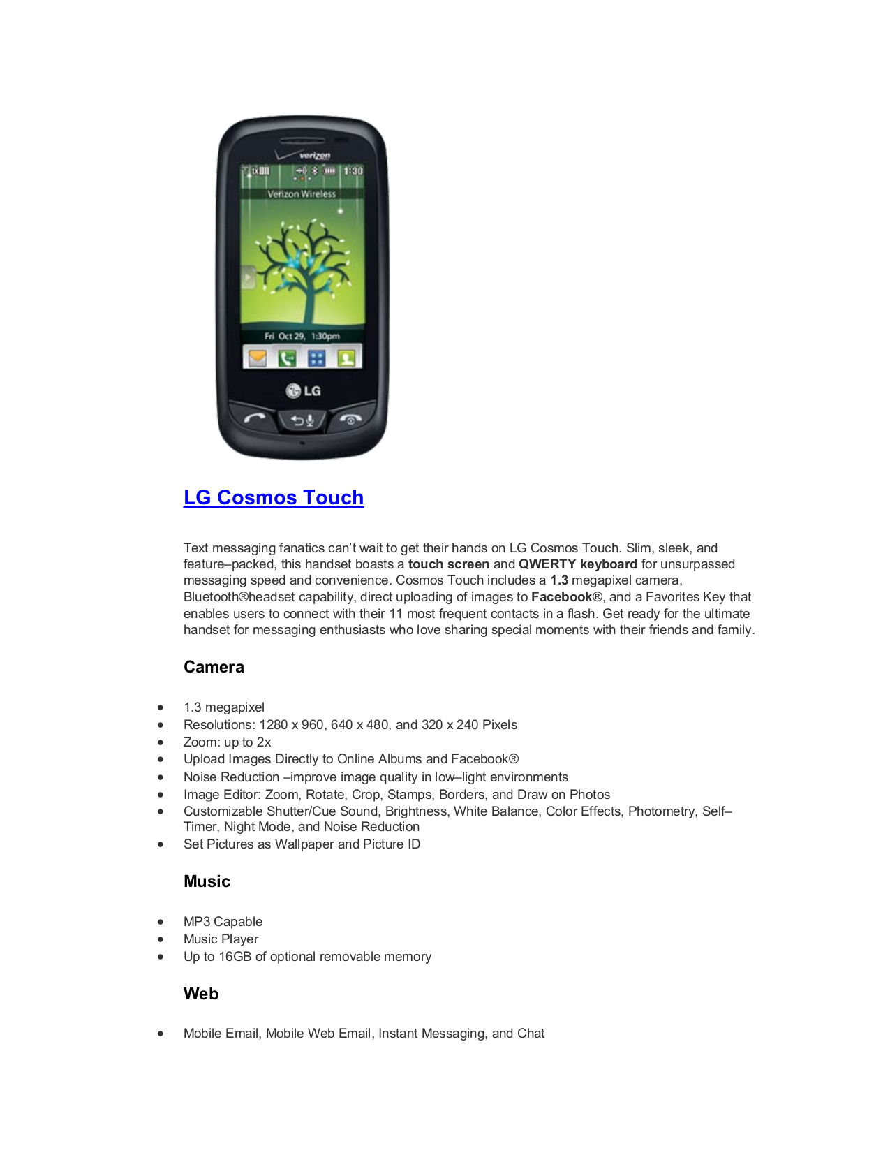 pdf for LG Cell Phone Cosmos Touch manual