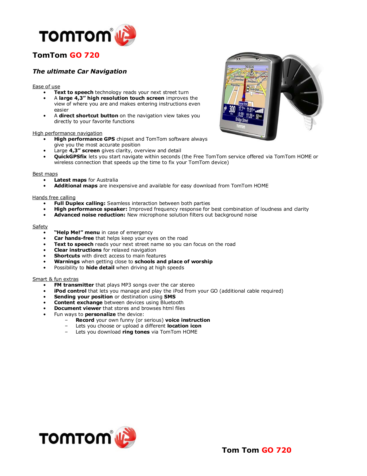 Download free pdf for TomTom Go 720 GPS manual