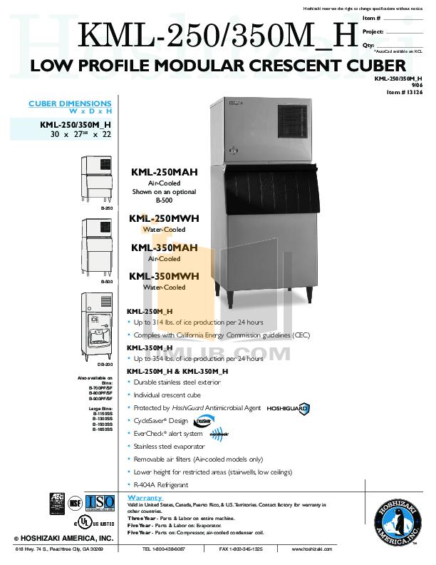 pdf for Hoshizaki Other KML-350MAH Cuber Machines manual
