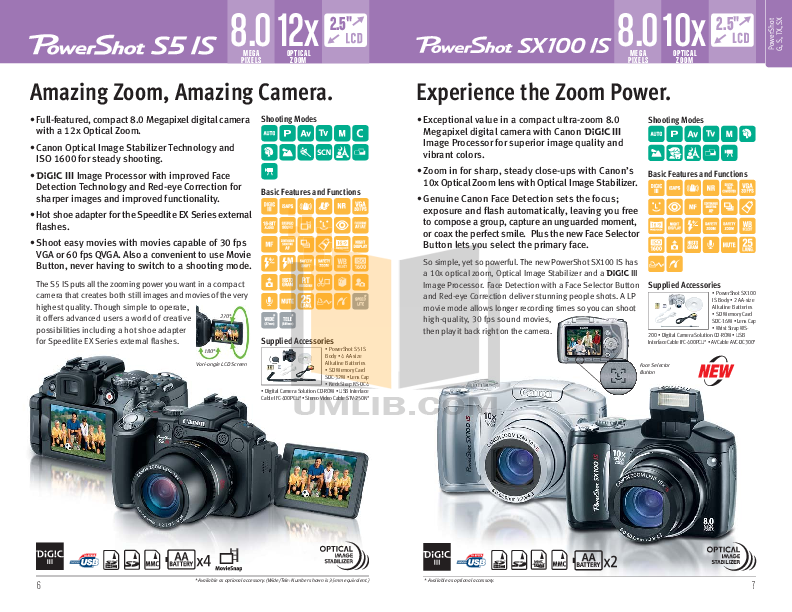 Canon Digital Camera Powershot SX100 IS pdf page preview