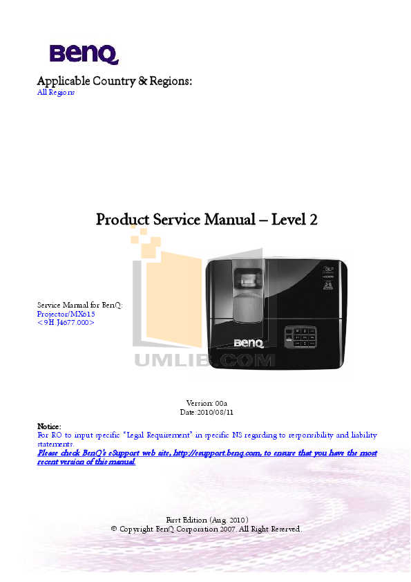 pdf for Benq Projector MX615 manual