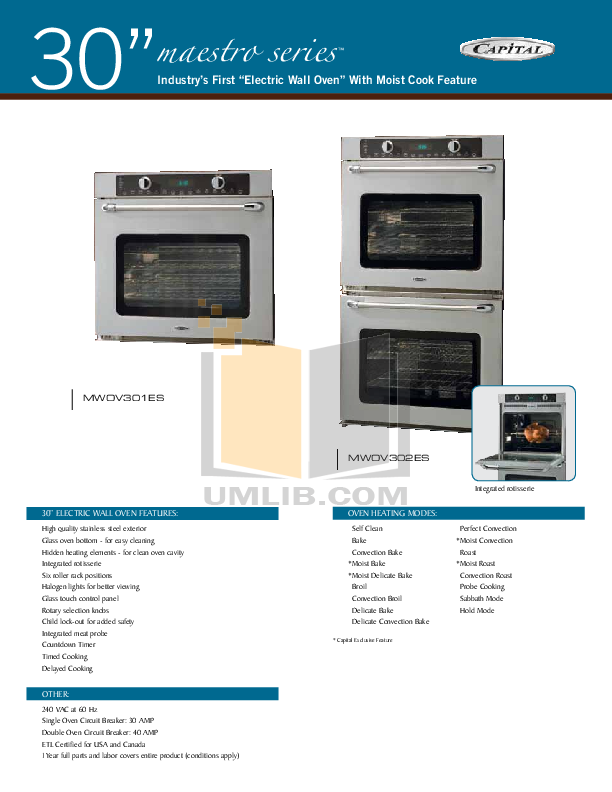 pdf for CapitalCooking Oven Maestro Series MWOV302ES manual
