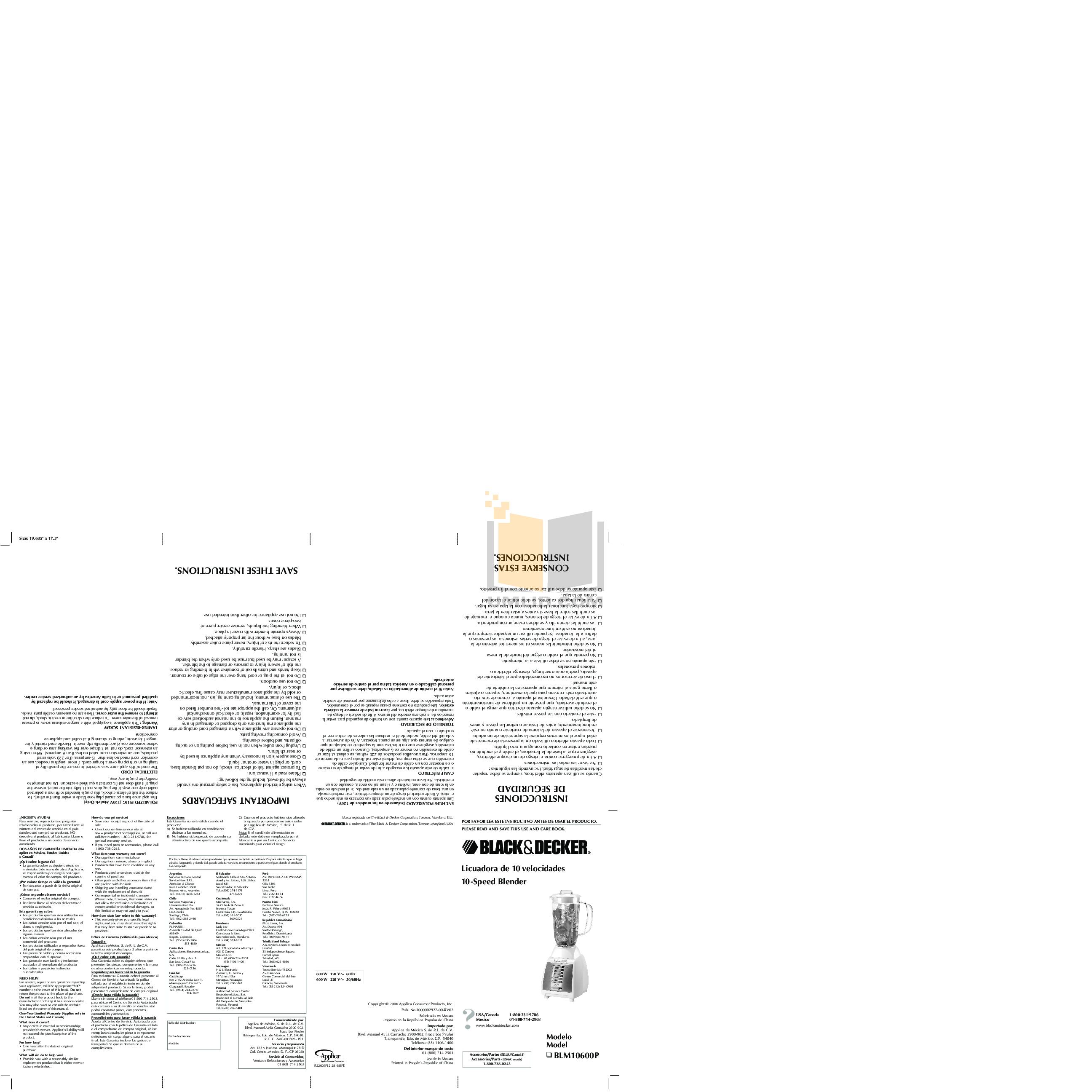 pdf for BlackAndDecker Blender BLM10600P manual