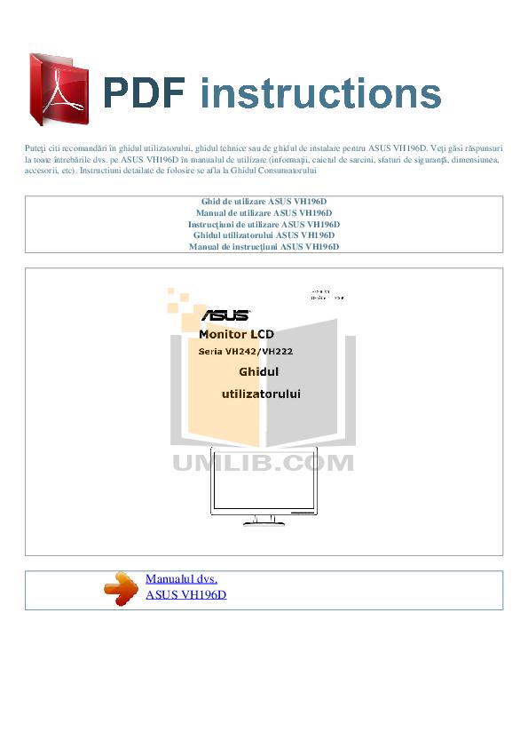 pdf for Asus Monitor VH242 manual