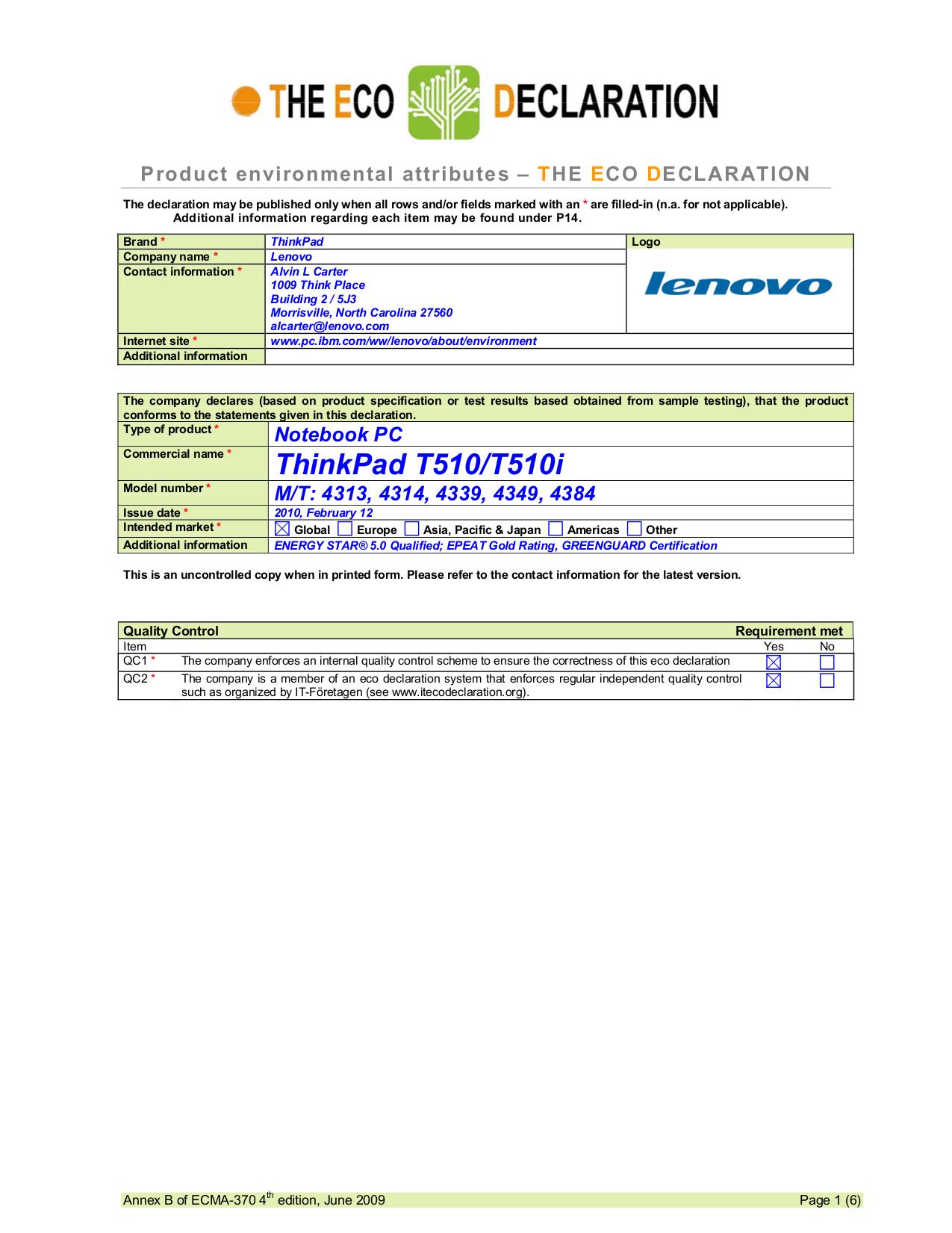 pdf for Lenovo Laptop ThinkPad T510 4384 manual
