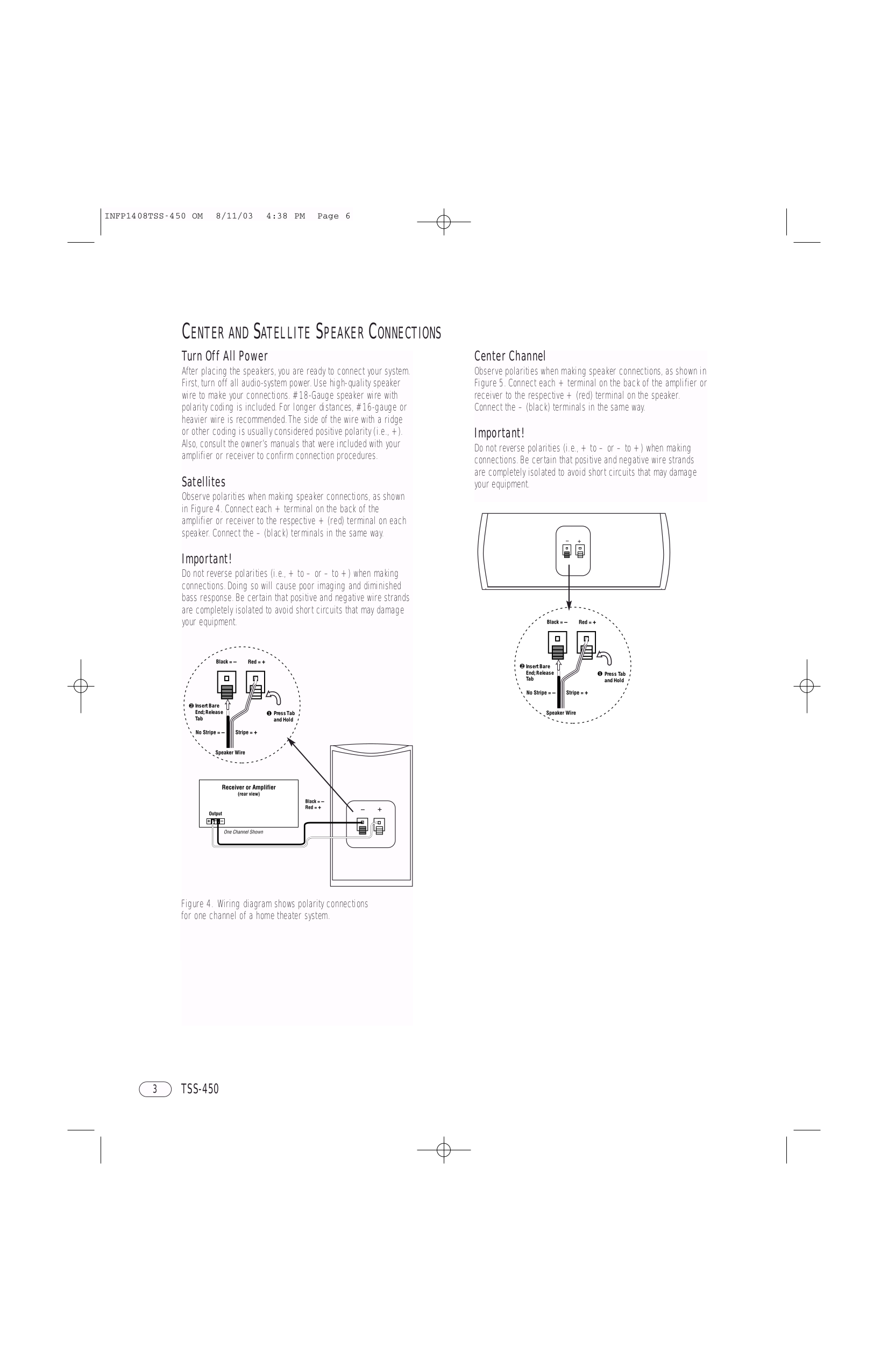 Pdf Manual For Infinity Speaker System Total Solutions Tss 450 Home Theater Wiring Diagrams Satellite Page Preview