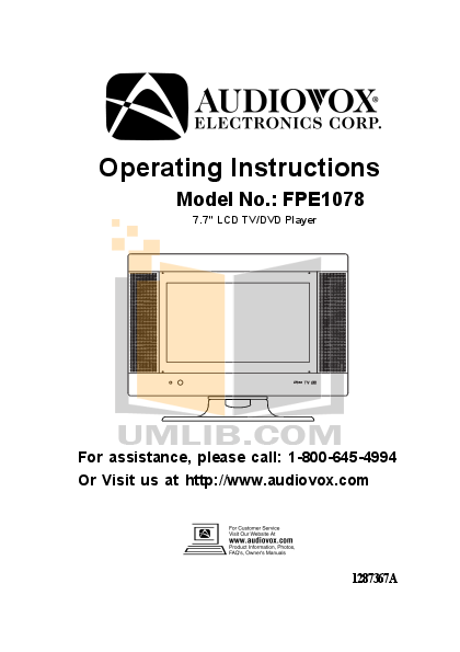 pdf for Audiovox TV FPE1078 manual