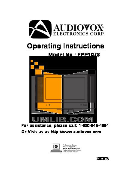 download free pdf for audiovox fpe1078 tv manual rh umlib com