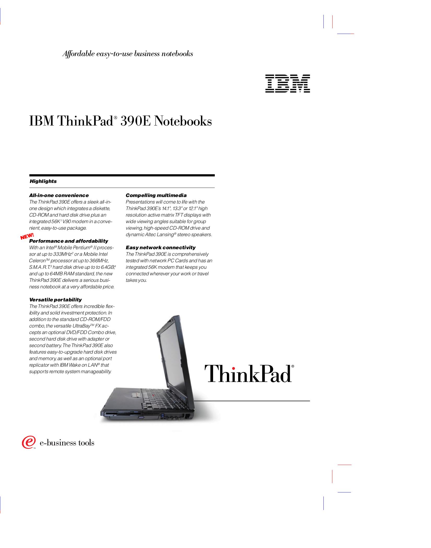 pdf for IBM Laptop ThinkPad 390 manual