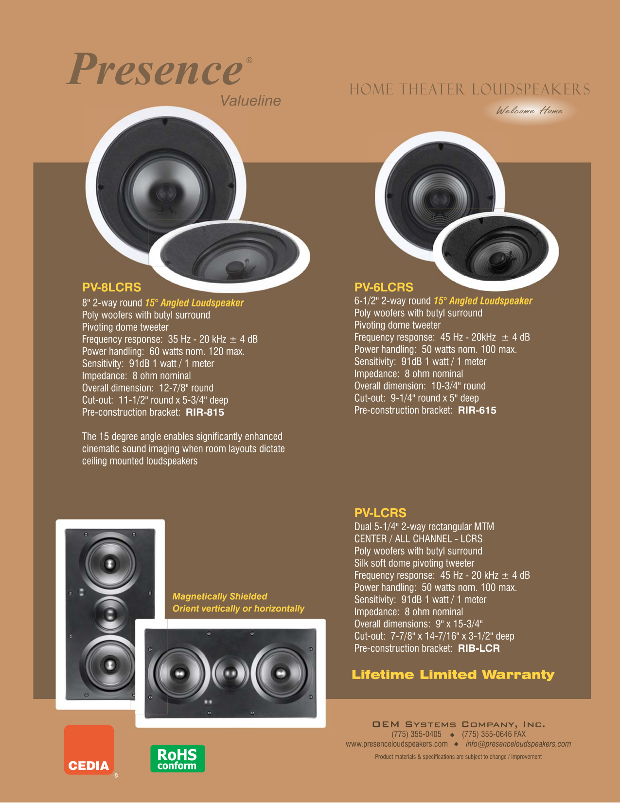 pdf for OEM Speaker PV-8LCRS manual