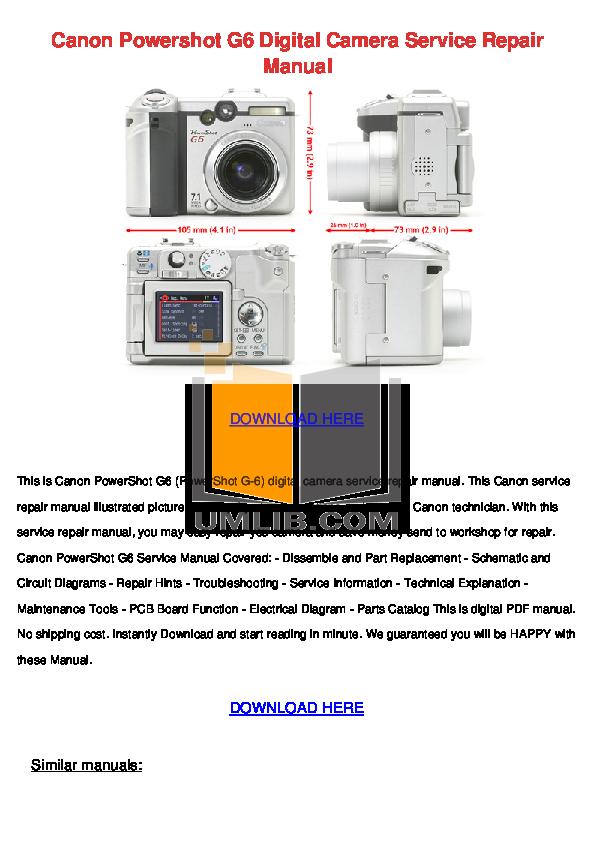 download free pdf for canon powershot g6 digital camera manual rh umlib com Canon Cameras Instruction Manual Canon 7D Manual