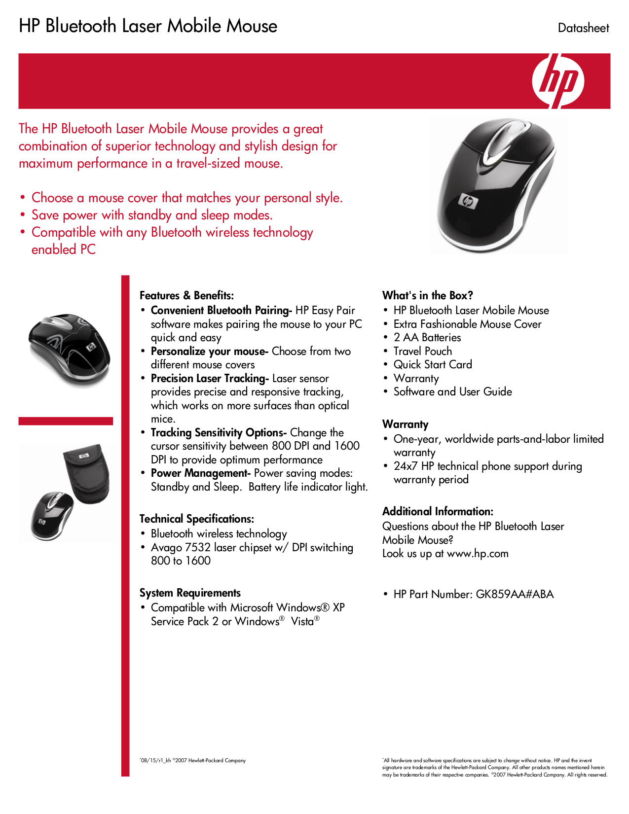 pdf for HP Mouse GK859AA manual