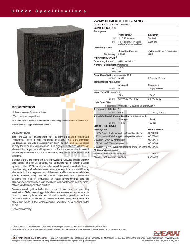 pdf for Eaw Speaker System UB22 manual