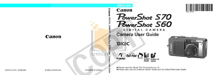 pdf for Canon Digital Camera Powershot S70 manual