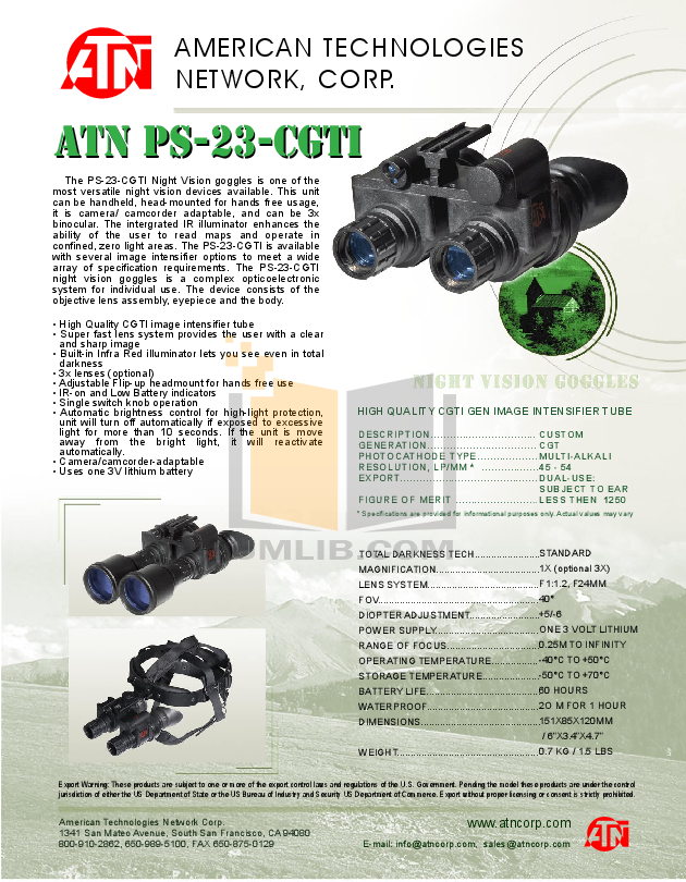 pdf for Atn Binocular PS-23-CGT manual