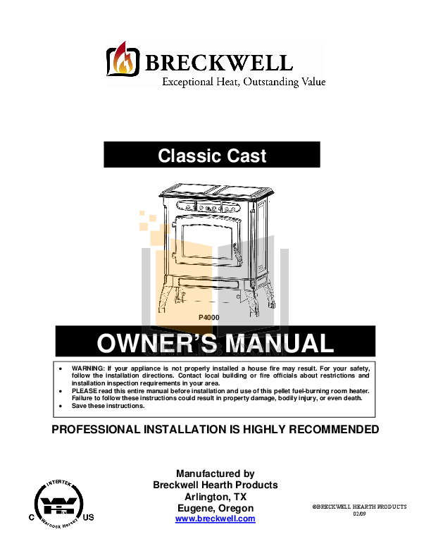 pdf for Breckwell Heating Cooling and Air P4000 manual