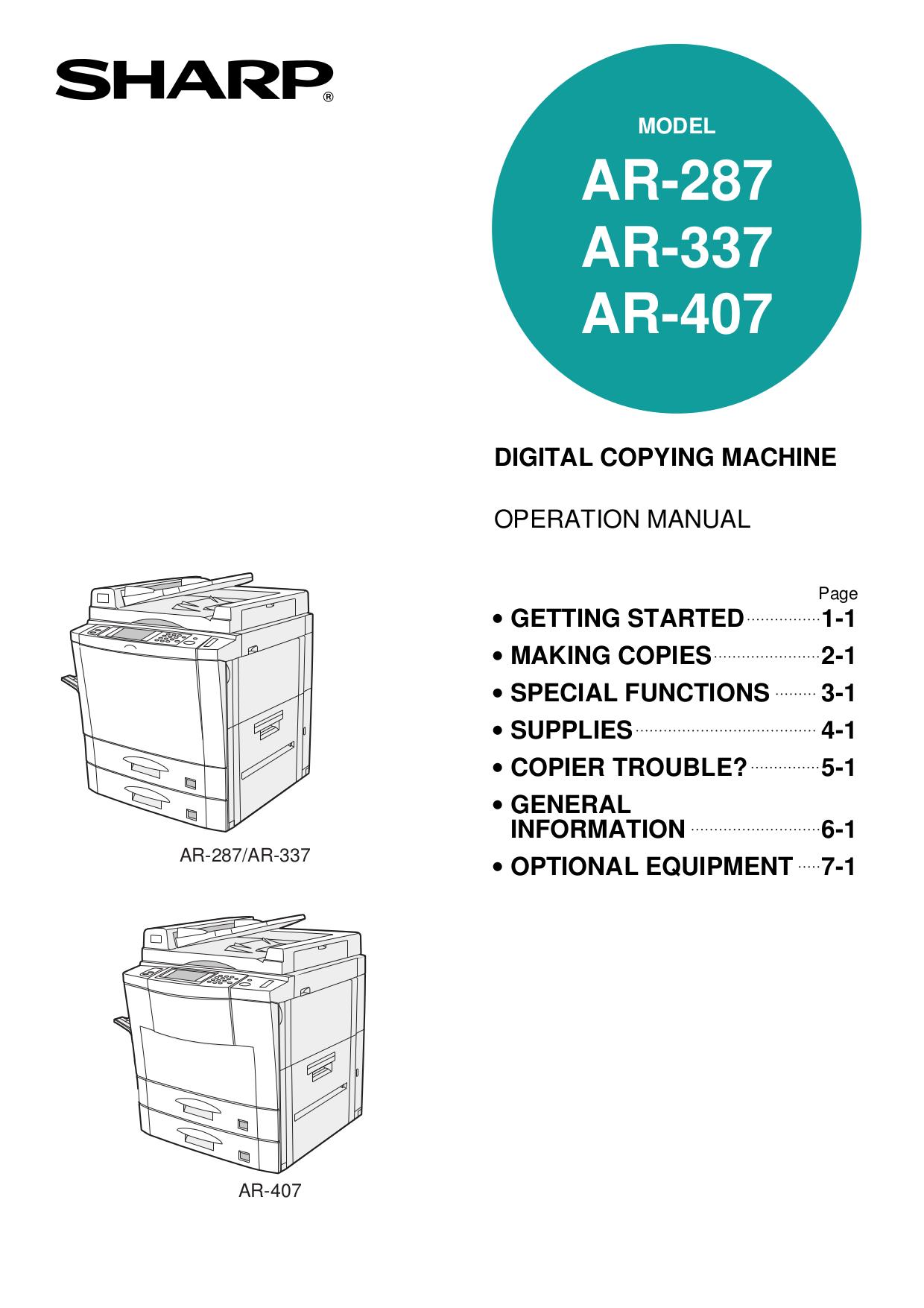 Sharp ar-287 ar-337 ar-407 ar-505 circuit diagrams service manual.