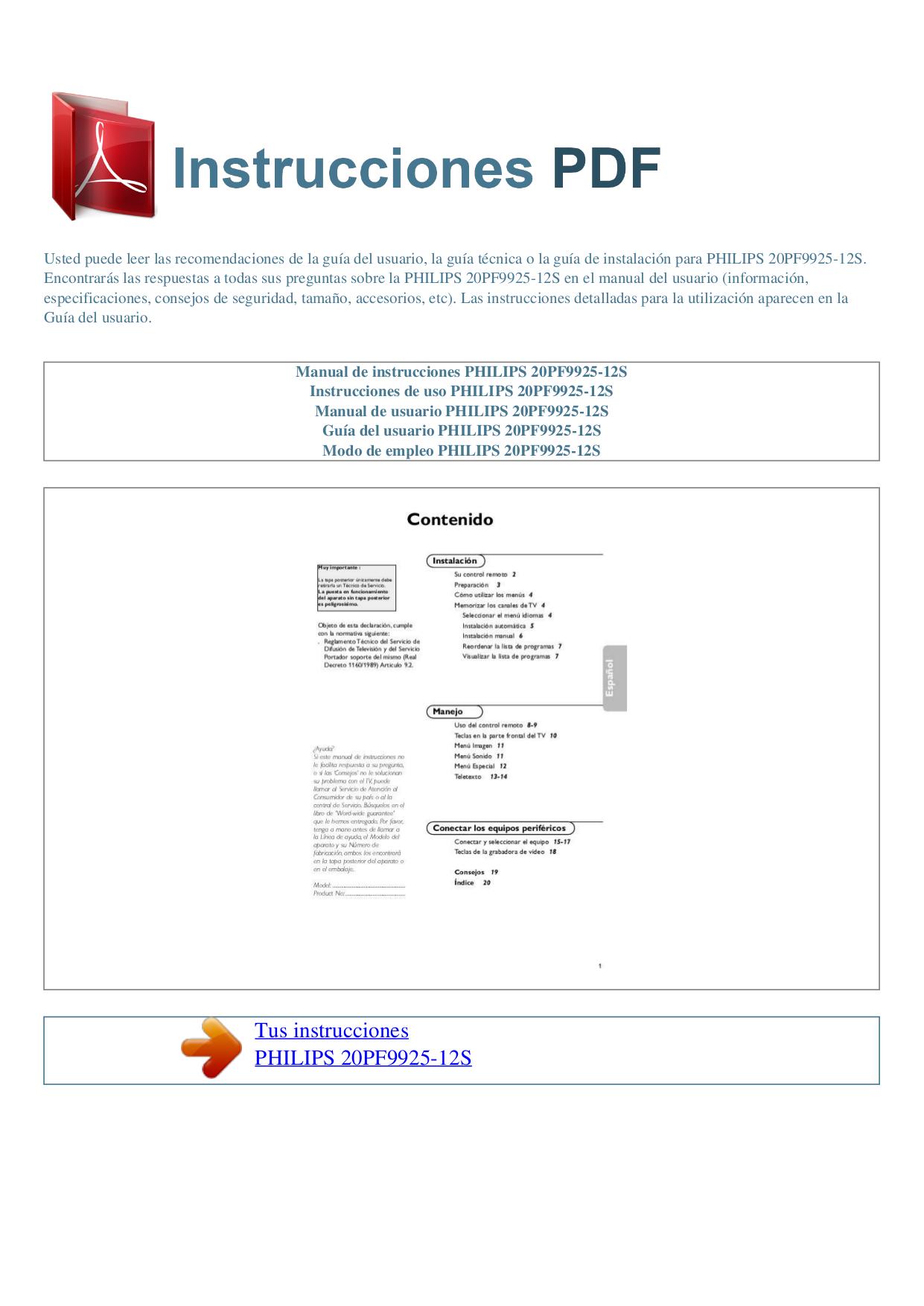 Pdf manual for philips tv 20pf9925 for Manual de viveros forestales pdf