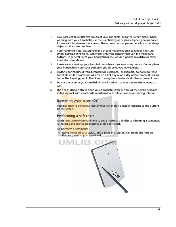 Acer PDA n20w pdf page preview