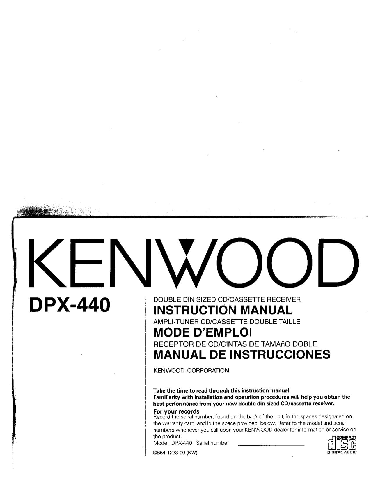 Download Free Pdf For Kenwood Kdc 222 Car Receiver Manual