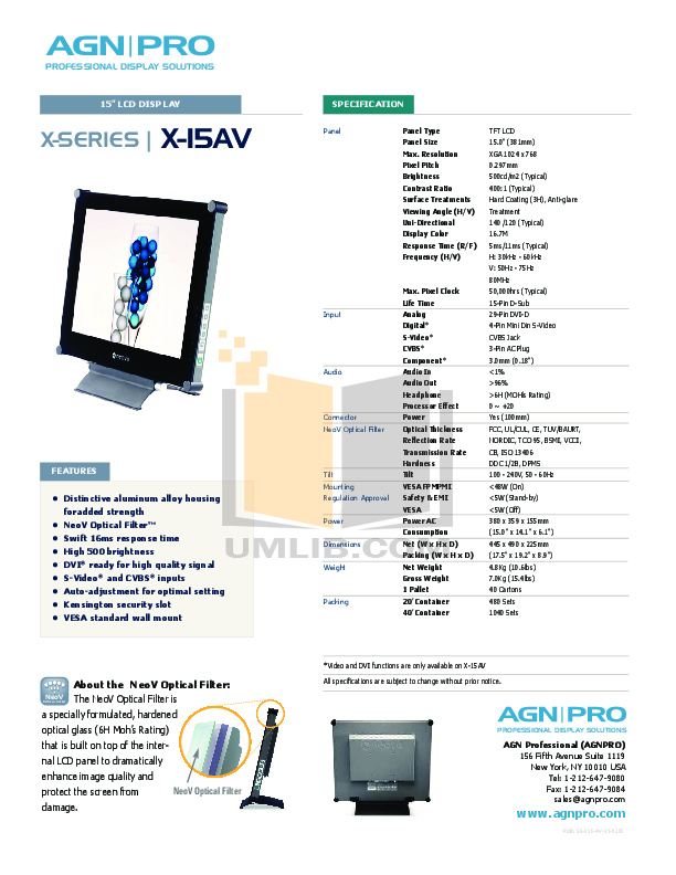 pdf for Agnpro Monitor X-15AV manual